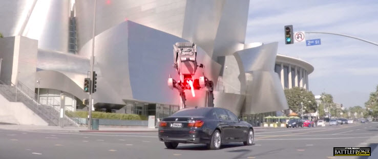 AT-ST Attacking Car In Los Angeles